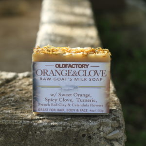 handmade organic tumeric soap with raw goats milk