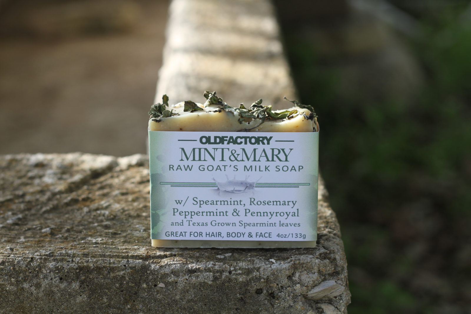 peppermint handmade soap with organic olive oil, organic flaxseed oil, organic shea butter, organic coconut oil