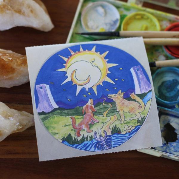 The Moon Tarot Card Sticker Old Factory