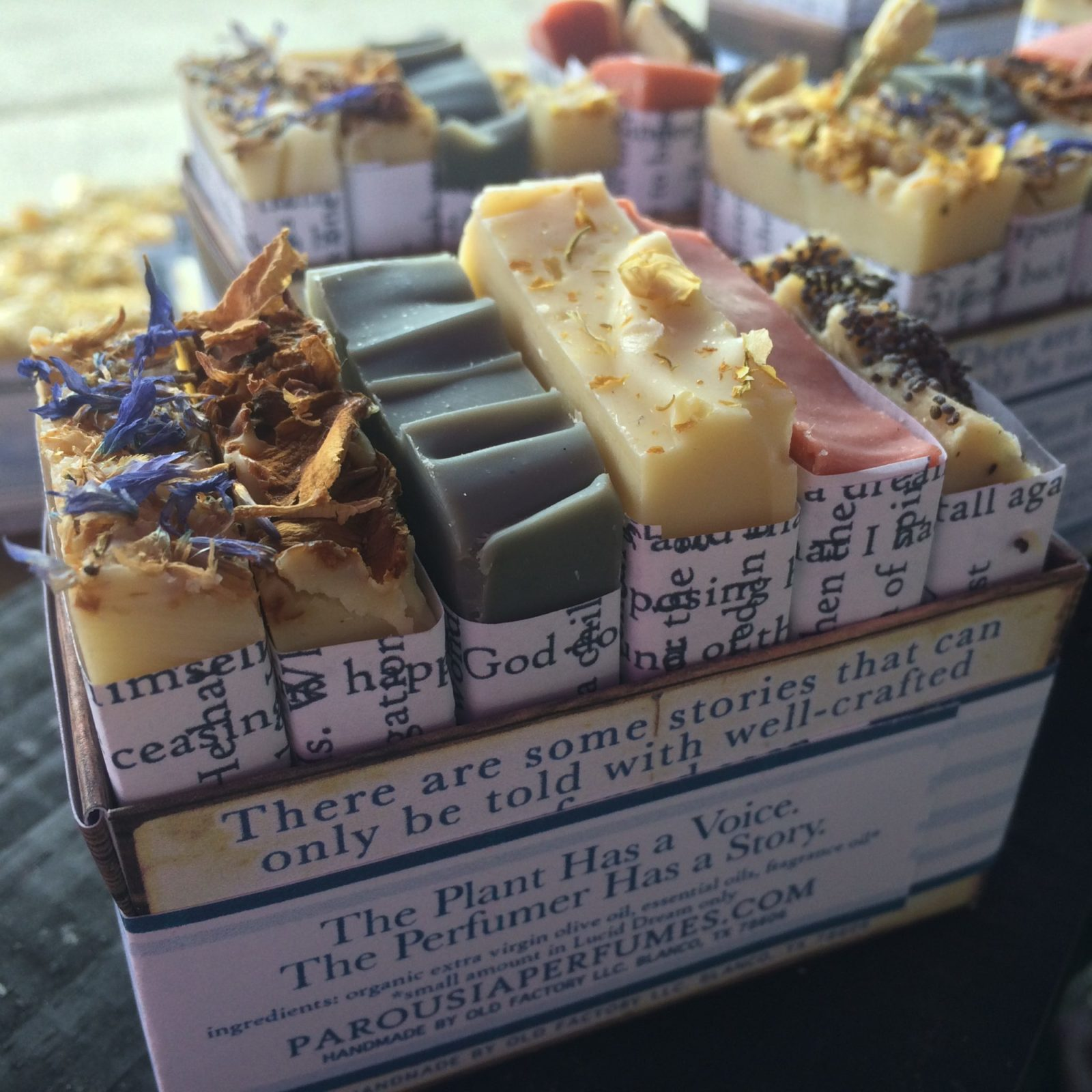 Soap Samplers at Founders Day Vendor Dripping Springs Texas Old Factory Soap Company