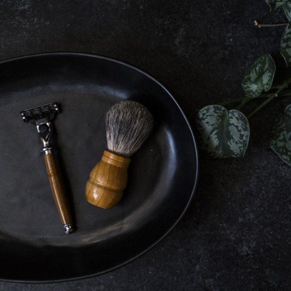 Texas Monthly Gift Guide for Men Made in Texas Old Factory Shaving Brush and Shaving Razor Teak