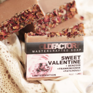 Valentines Day Limited Edition Soap by Old Factory with Patchouli, Frankincense, Benzoin and Rose Petals
