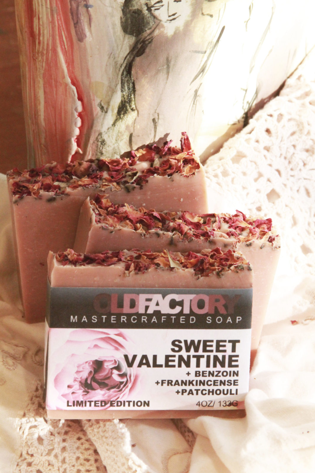 Valentines Day Limited Edition Soap by Old Factory with Patchouli, Frankincense, Benzoin and Rose Petals Handmade Blanco Texas